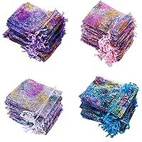 100 Multicolore Sacchetti Organza 9x12cm Sacchetti Regalo in Organza Trasparente con Cordoncino Sacchetto di Gioielli…