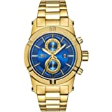 JBW Luxury Men's Strider 0.12 ctw Diamond Wrist Watch with Stainless Steel Link Bracelet Standard Gold/Blue