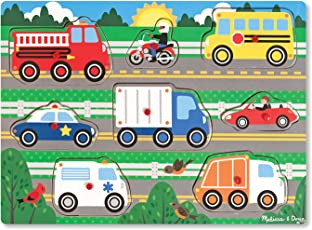 Melissa & Doug Vehicles Peg Puzzle, Multi Color