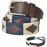 PELPE - Cinturón argentino de piel, con pulsera de hilo y cuero a juego. Cinturón bordado sobre cuero, para hombre y mujer. C