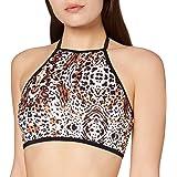 Marca Amazon - IRIS & LILLY Top de Bikini con Estampado de Leopardo y Cuello Halter para Mujer