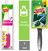 Scotch-Brite Plastic Bottle Cleaner Brush (Pink and White) & Plastic Kitchen Sink Brush (Silver) Combo