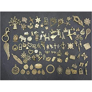 96Pcs Vintage Metal Charms Pendants DIY Decoration with 1 Feather Keychain for Notebook Handmade Crafts,Pack of 97