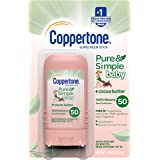 Coppertone Pure & Simple Baby SPF 50 Sunscreen Stick, Water Resistant, Pediatrician Recommended, Mineral Based, Cocoa butter,