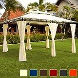 Deuba Luxus Pavillon TOPAS Festzelt 4x3 Partyzelt Garten Pavillion Gartenzelt Gartenpavillon Beige