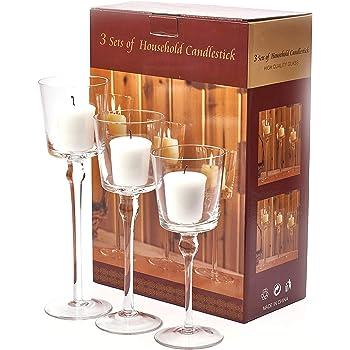 Amazon De 3er Set Elegante Glas Kerzenstander Teelichthalter