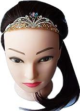 Foreignholics Crystal Rhinestone Princess Hair Crown/Hairband/Tiara/Headband For Kids & Girls (Gold)
