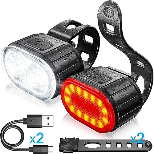Luci Bicicletta Kit, Luce Anteriore e Posteriore per Bicicletta LED, Luce per Bicicletta Ricaricabile USB, Disponibile per Uomini Donne, Bambini, Combinazione di Luci per Mountain Bike Impermeabili