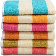 HSR Collection 50x32cm Multicolour Cotton Hand Towels - Set of 6