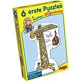 Haba 3901 - 6 erste Puzzles Baustelle, Puzzle mit 6 lustigen Baustellenmotiven für Kinder ab 2 Jahren, mit Bauarbeiterholzfigur zum freien Spielen