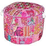 Indiase Boheemse patchwork poef, poef, poef, poef, voetenkruk, ronde poef, poef, poef, voetenbank, zitzak, vloerkussen Ottoma