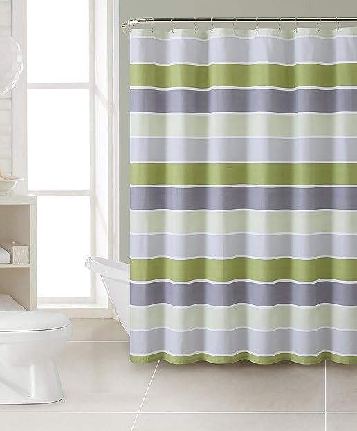 cinder gestreift 100 baumwolle stoff vorhang fr die dusche baumwolle grn 72 - Stoff Vorhang Dusche