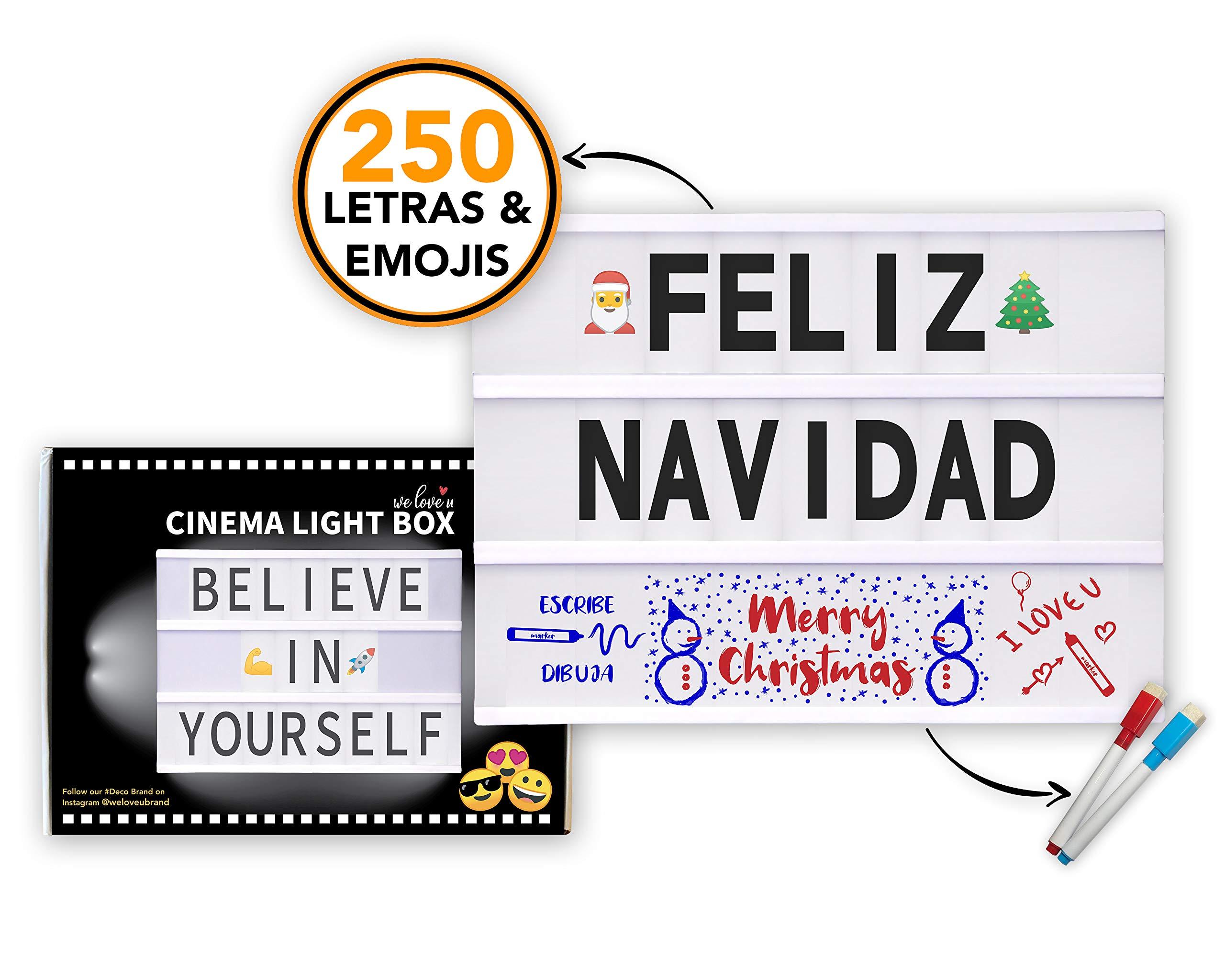 Caja de Luz LED A4 con 250 Letras Símbolos Emojis, 2 Marcadores Borrables y 20 Tarjetas Extras, Cable USB | LetrasÑ ÇÄ Ö Üß| Cinema Light Box Decoración Vintage| Casa, Navidad, Boda, Fiesta