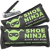 Lot de 2 sachets anti-odeurs au charbon actif pour chaussures, avec coupe-ongles offert, grand format, 75 g
