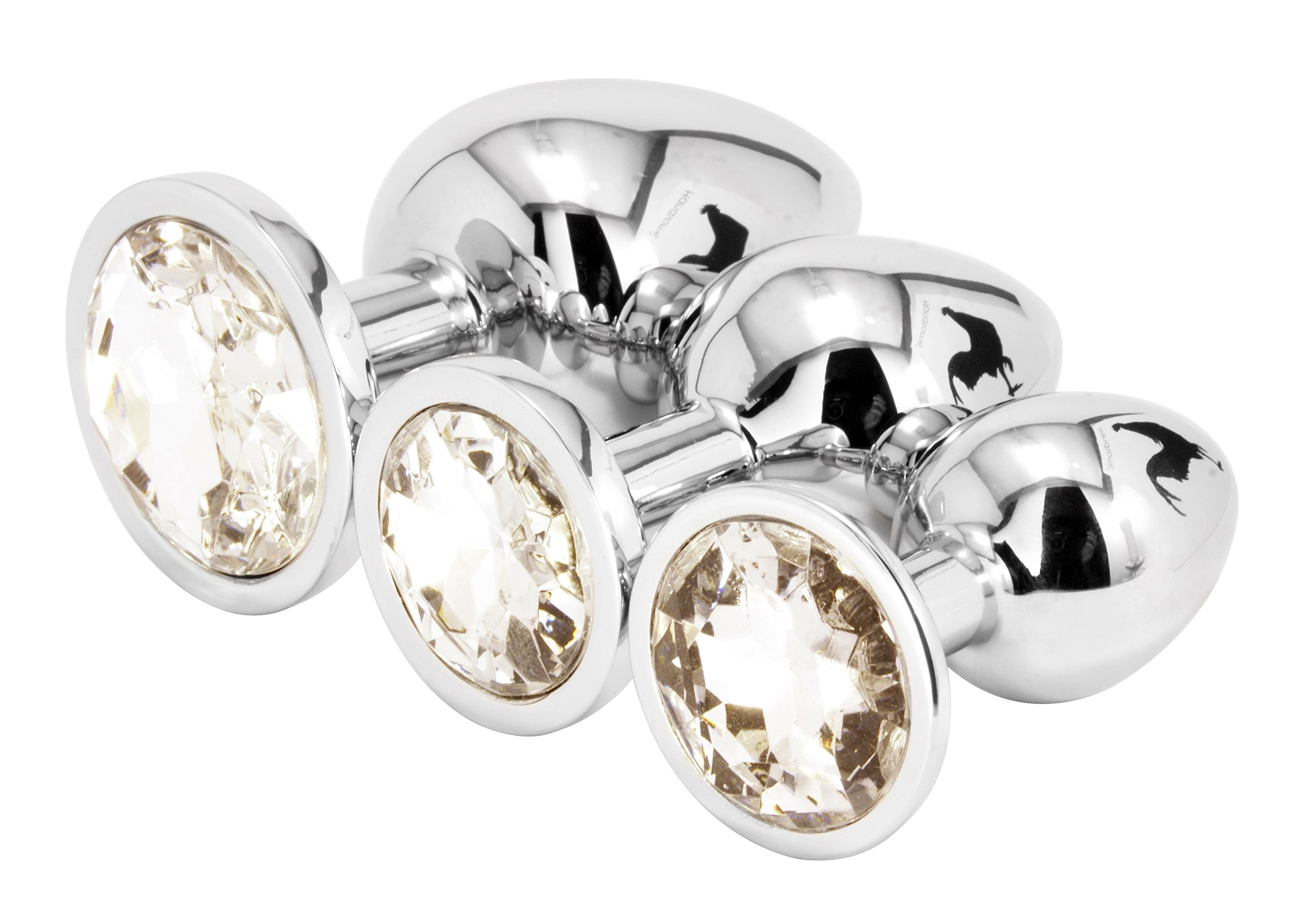 Handsome Cock Jewelled Butt Plug Set, Clear
