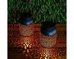 Lanterne Solaire Jardin GolWof 2 Pièces LED Solaire Extérieur Lampe Lanterne Solaire Sans Fil Étanche Auto Marche/Arrêt Lante