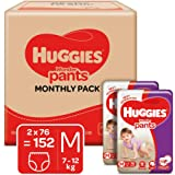 Huggies Wonder Pants Medium (M) Size Baby Diaper Pants Monthly Pack, 152 count, with Bubble Bed Technology for comfort