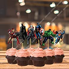 Party Propz Super Hero Decorative Cup Cake Topper, 5cm (Multicolour) - Set of 14