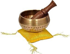 Dharma Store – Tibetische Klangschale hergestellt in Nepal – Klangschalen-Set für Meditation und Yoga – perfektes Geschenk braun