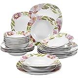 VEWEET Ashley 24pcs Service de Table Pocelaine 6pcs Assiettes Plates 24,6cm, 6pcs Assiette Creuse 21,5cm, 6pcs Assiette à Des