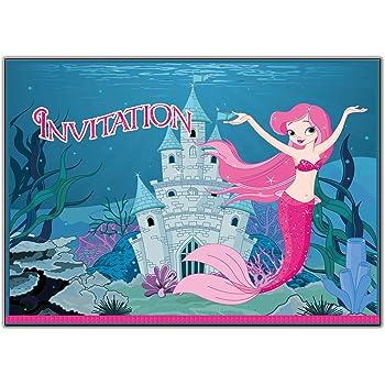 10 Cartes Invitation Anniversaire Ariel La Petite Sirene Avec Des
