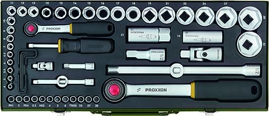 Proxxon Komplett-Steckschlüsselsatz, 56-teilig, Umschaltknarren aus Chrom-Vanadium-Stahl in stabilem pulverbeschichteten Stahlkasten, 1/4 Zoll + 1/2 Zoll,  Art.-Nr. 2340