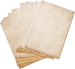 50 BLATT Vintage Briefpapier / DIN A4 90g /m² - ca 21 x 30 cm / Bastelpapier für Kinder / für Karten + Einladungen zur Hochzeit / Vintage Papier beidseitig bedruckbar / 50er Block blanko Motivpapier / Set zum Gestalten in hell-braun