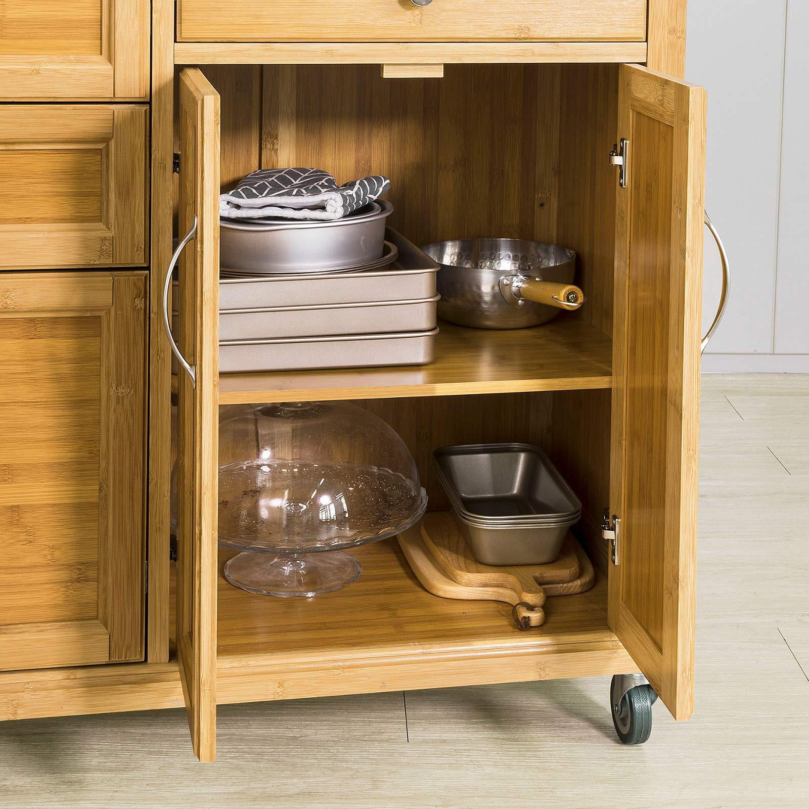 SoBuy Carrello di servizio, Scaffale da cucina, Mensola angolare, bambù+  acciaio(piano), FKW70-N