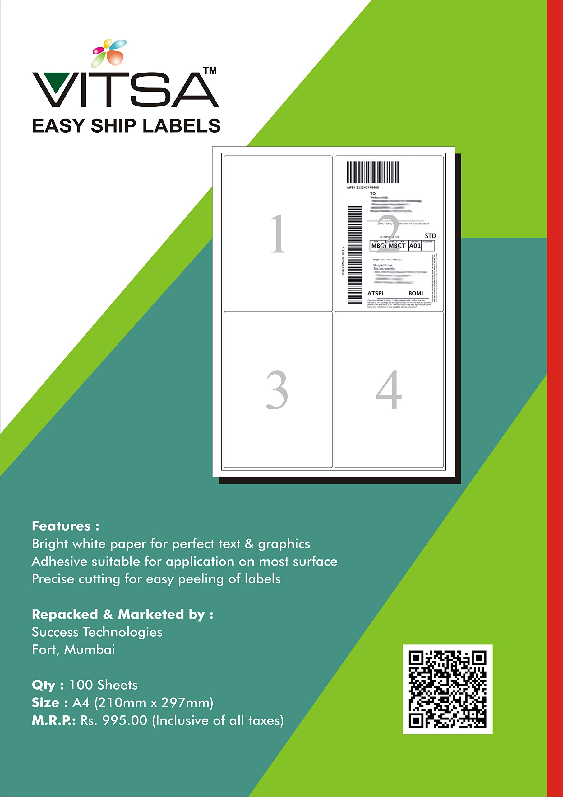 VITSA Easy Ship Label Sticky Labels - Pack of 250 Sheets