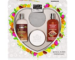 Bryan & Candy New York Cocoa Shea Gift Set For Women Heart Combo Kit, Shower gel, Hand & body Lotion, Body Polish, Loofah (Pa