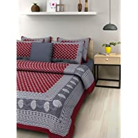 SheetKart Traditional Hand Block Printed 144 TC Cotton Double Bedsheet with 2 Pillow Covers - Maroon