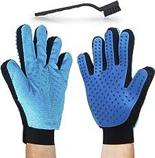 Schonender Fellpflege Massage-Handschuh für die Liebsten – Effizienter 2 in 1 Tierhaarentferner-Handschuh für Möbel + Gratis Reinigungsbürste - Perfekt für Hunde und Katzen mit langem und kurzem Fell