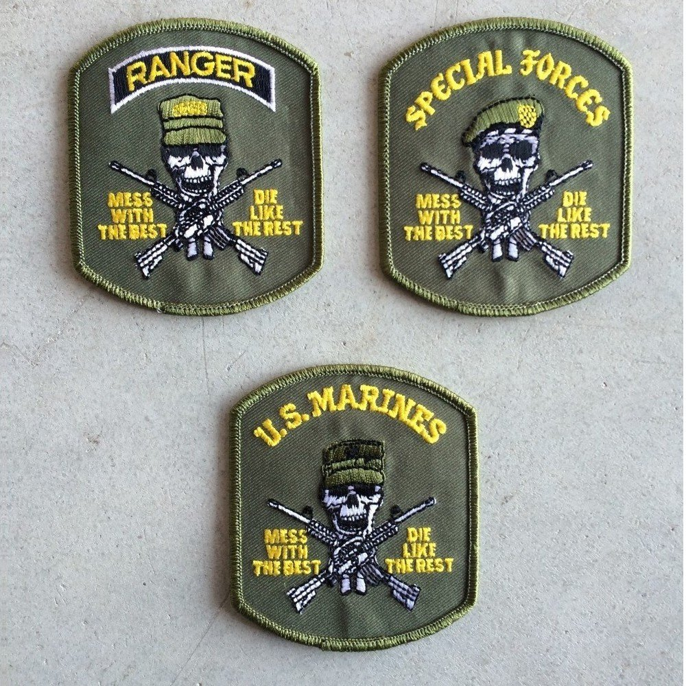 SET 3 PATCH TOPPE FORZE SPECIALI CON TESCHIO RANGER SPECIAL FORCES US MARINES