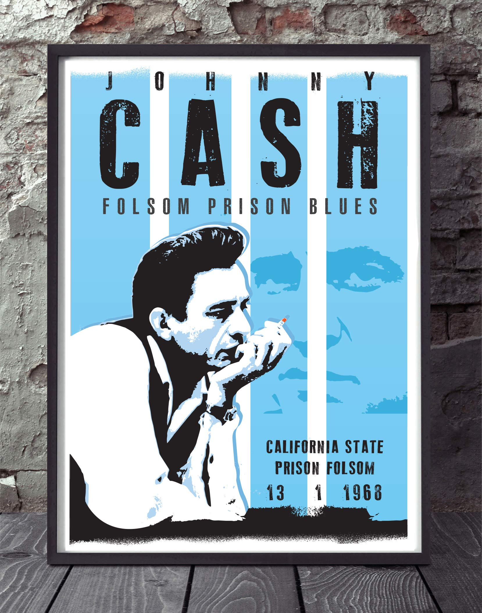 Johnny Cash music inspired art print poster. Re-imagined and specially created