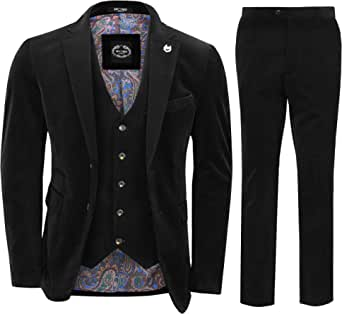Mens Corduroy 3 Piece Suit Maroon Classic Vintage Style Tailored Fit Jacket Waistcoat Trousers