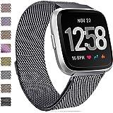 HUMENN Compatible avec Fitbit Versa Bracelet/Fitbit Versa Lite Bracelet, Milanese en Acier Inoxydable réglable Montre Bracelet avec Fermeture magnétique pour Fitbit Versa Rose Or Argent coloré S & L