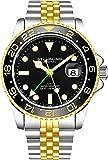 Stuhrling Original GMT, orologio da uomo in acciaio inox, movimento al quarzo svizzero, doppio orario, datario rapido…