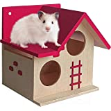 PetNest Wood House for Small Animals Hide House/Hammock for Hamster/Dwarf/Mice/Gerbil/Chinchilla/Hedgehog Cage Toy Chew Toy H
