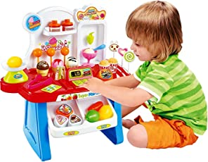 Home Buy,Supermarket Shop 34 Pcs with Sound Effects, Multi Color