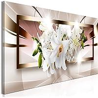 decomonkey Bilder Blumen Abstrakt 120x40 cm 1 Teilig Leinwandbilder Bild auf Leinwand Vlies Wandbild Kunstdruck Wanddeko…