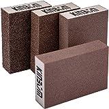 Kinbom Lot de 4 éponges/blocs de ponçage pour surfaces humides et sèches, grossier, moyen, fin, superfin, 4 blocs de ponçage