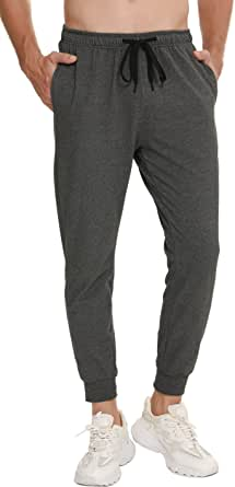 Vlazom Men's Cotton Jogging Bottoms Slim Fit Lightweight Joggers Trousers Soft Lounge Pants with Pockets