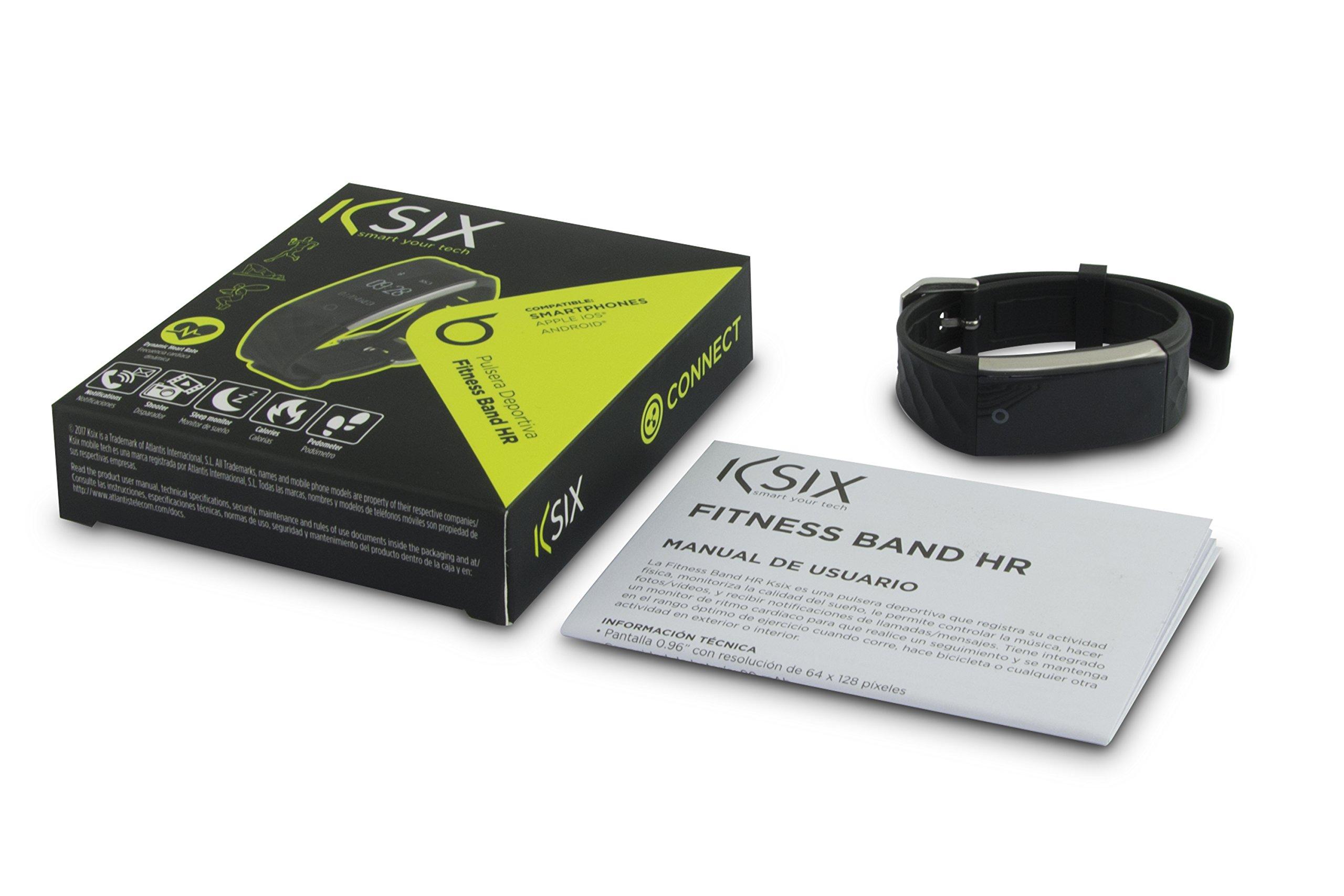 Ksix Fitness Band HR – Pulsera de Actividad con Monitor Deportivo y Bluetooth Compatible con Smartphone, Color Negro
