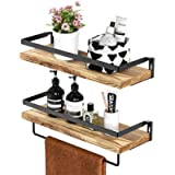 STOREMIC Floating Shelves, Rustic Wall Shelves Set of 2 with Length 42cm, Removable Towel Holder, Wall Mounted Shelves…