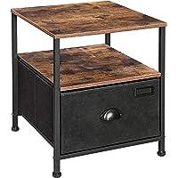 SONGMICS Table de Chevet, Table de Nuit avec Rangement, Table d'appoint à tiroir en Tissu, avec 2 étagères, Style…