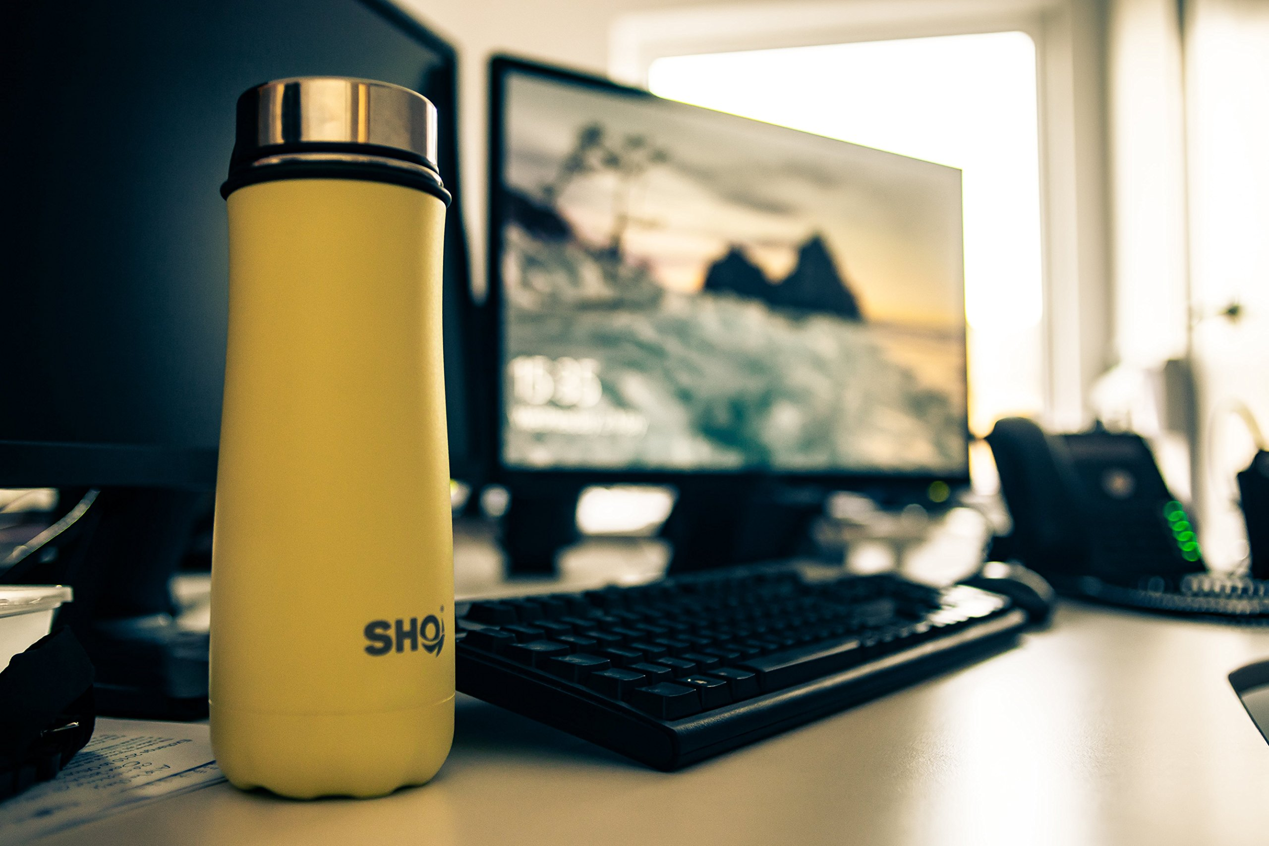 SHO Fortis – Ultimate Insulated, Double Walled Stainless Steel Water Bottle, Coffee Cup, Tumbler & Vacuum Flask – 10 Hours Hot & 20 Hours Cold – 590ml – BPA Free