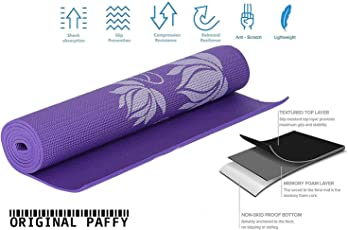 Paffy Yoga Mat - 6 Mm - Floral Print - Textured Pattern - Anti Skid Both Side - Washable - With Cover