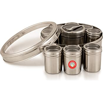 17cm Spice Tin Masala Dabba Stainless Steel Hammered With 7 Compartments /& 2 Stainless Steel Lids Spice Rack Hammered Kitchen Indian Spice Herb Container Authentic Indian Spice Box