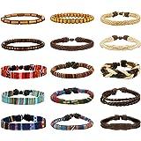 Milacolato 15Pezzi Pelle Vintage Bracciali per Uomo Donna Braccialetti Braccialetto Perle di Legno Canapa Cords Etnico Tribal