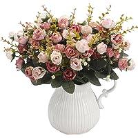Peoxio mazzo di rose artificiali, costituito da 7 rami e 21 rose, realizzato in seta. Bouquet decorativo, ideale per…